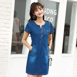 Đầm jean suông cầu vai cổ Y phối túi có size M đến XX giá sỉ