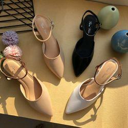 Giày sandal bít mũi hở gót cao 5p dễ đi