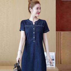 Đầm Jean Suông Cổ V Vai Nhúng Đơn Giản giá sỉ