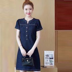 Đầm Jean Suông Cổ V Vai Nhúng Đơn Giản giá sỉ, giá bán buôn