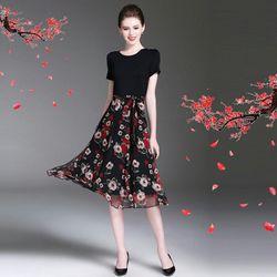 Đầm xòe vintage cổ tròn chiffon in hoa xuân giá sỉ, giá bán buôn