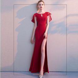 Đầm Dự Tiệc Choàng Ren Xẻ Đùi Đuôi Cá T giá sỉ