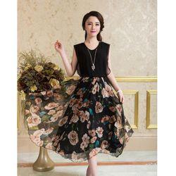 Đầm Hoa Xòe Vintage Black Rose Đủ Size giá sỉ