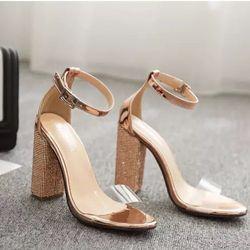 Giày sandal gót vuông kim sa giá sỉ