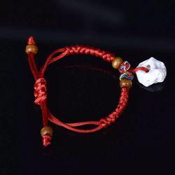 Vòng đeo tay đá cẩn thạch kết dây mầu đỏ may mắn giá sỉ