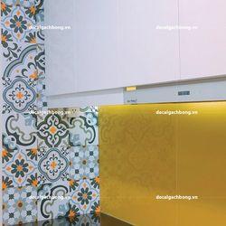 Decal dán tường hoa văn gạch bông xưa xanh - màu trung tính 1m225 miếng giá sỉ