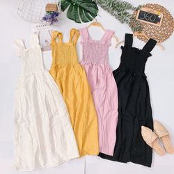 Đầm maxi nhíu thun Chất cotton đũi dày đẹp giá sỉ