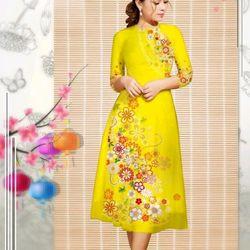 set áo dài kèm chân váy vàng chanh giá sỉ