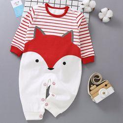 Áo liền quần cho bé phối màu trắng đỏ hình thú đáng yêu 105 giá sỉ