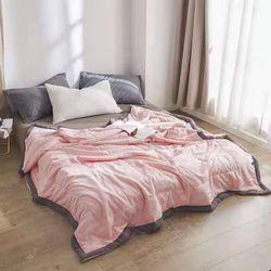 Chăn hè cotton đũi màu hồng giá sỉ