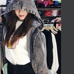 áo khoác jean nữ mũ xám giá sỉ