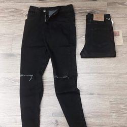 quần jean nam đen rách gối giá sỉ