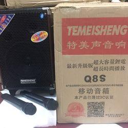 Loa kéo Temeisheng Q8s Hàng Chuẩn - Bass 2 tấc - 2 micro không dây