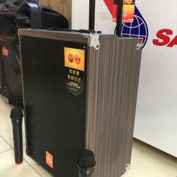 Loa kéo Karaoke Q12 - Bass 3 tấc - 2 micro không dây