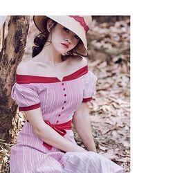 Đầm xòe bẹt vai cột nơ eo QC giá sỉ, giá bán buôn