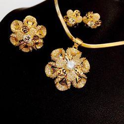 Bộ trang sức dây chuyền bông tai mạ vàng giá sỉ