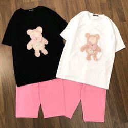 set đồ bộ lửng gấu hồng logo siêu xinh