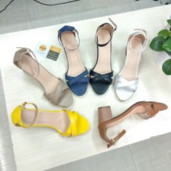 Giày Sandal cao gót 5 phân bảng chéo gót sơn gỗ
