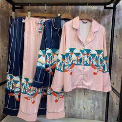 Bộ mặc nhà – Pijama Quảng Châu lụa hai màu hồng xanh đen giá sỉ