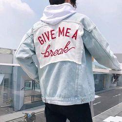 Áo khoác Jean Nam thêu chữ GIVE MEA giá sỉ