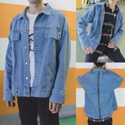 Áo khoác jean nam lưng khóa kéo phong cách