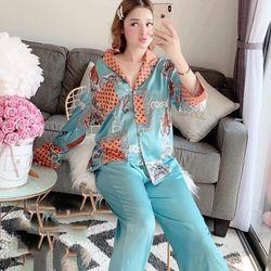 Bộ mặc nhà - Pijama Quảng Châu 2 màu xanh đỏ giá sỉ