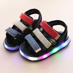 Giày Sandal cho bé trai đèn led 01 màu đen giá sỉ