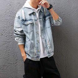 Áo khoác Jean Nam wash có 2 màu xanh và đen giá sỉ