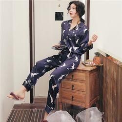 Bộ mặc nhà – Pijama Quảng Châu lụa 3 màu hồng trắng xanh đen giá sỉ