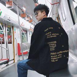 Áo khoác jean nam in chữ thời trang