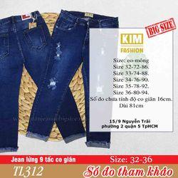 Quần Jean Lửng 9 Tấc Bigsize Co Giãn TL312 Size 32-36 giá sỉ