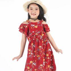 Đầm hoa rớt vai bé gái Ninh Khương - Sun Moon