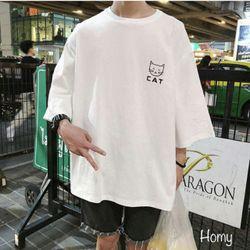 áo thun unisex mèo cat áo thun cặp nam nữáo thun tay lỡ giá sỉ, giá bán buôn