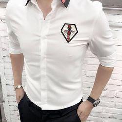 áo sơ mi nam huy hiệu vải lụa chống nhăn 136