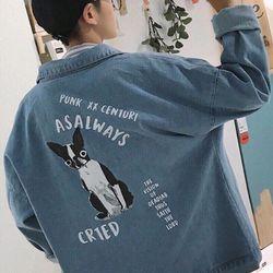 Áo khoác jean nam in hình DOG giá sỉ, giá bán buôn