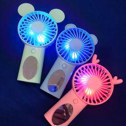 Quạt cầm tay cute có gương có đèn led SIÊU PHẨMM giá sỉ