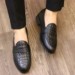 Giày lười da bò dập vân da mềm đế êm giá sỉ, giá bán buôn