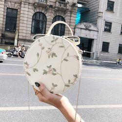 Túi hộp tròn đeo chéo thêu hoa siêu xinh N8901
