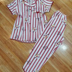 Bộ mặc nhà – Pijama tay ngắn quần dài HT báo hồng giá sỉ