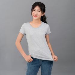 Áo thun trơn nữ 100 cotton xám giá sỉ