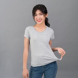 Áo thun trơn nữ 100 cotton xám giá sỉ, giá bán buôn
