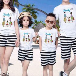 áo thun gia đình năng động ngày hè 10 giá sỉ