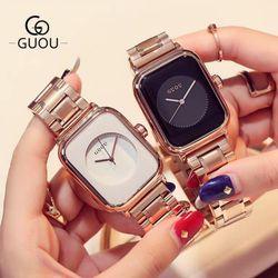 Đồng hồ nữ thời trang Guou 8162 mặt chữ nhật giá sỉ