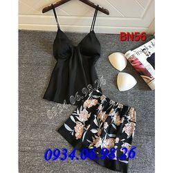 Bộ đồ ngủ 2 dây áo trơn quần hoa BN56DE - giá sỉ tốt nhất thị trường giá sỉ