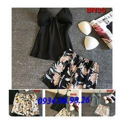 Bộ đồ ngủ 2 dây áo trơn quần hoa BN56XA - giá sỉ tốt nhất thị trường