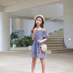 Váy kẻ thêu hoa phong cách Hàn Quốc giá sỉ