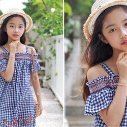 Váy kẻ thêu hoa phong cách Hàn Quốc giá sỉ, giá bán buôn