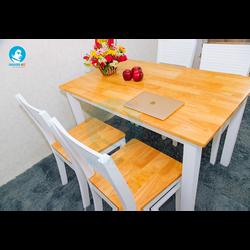 Bộ bàn ghế ăn Nguyên Gỗ – CR trắng giá sỉ