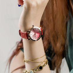 Đồng hồ nữ Guou 8128 dây da đỏ giá sỉ