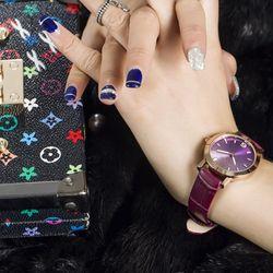 Đồng hồ nữ Guou 8128 dây da tím giá sỉ